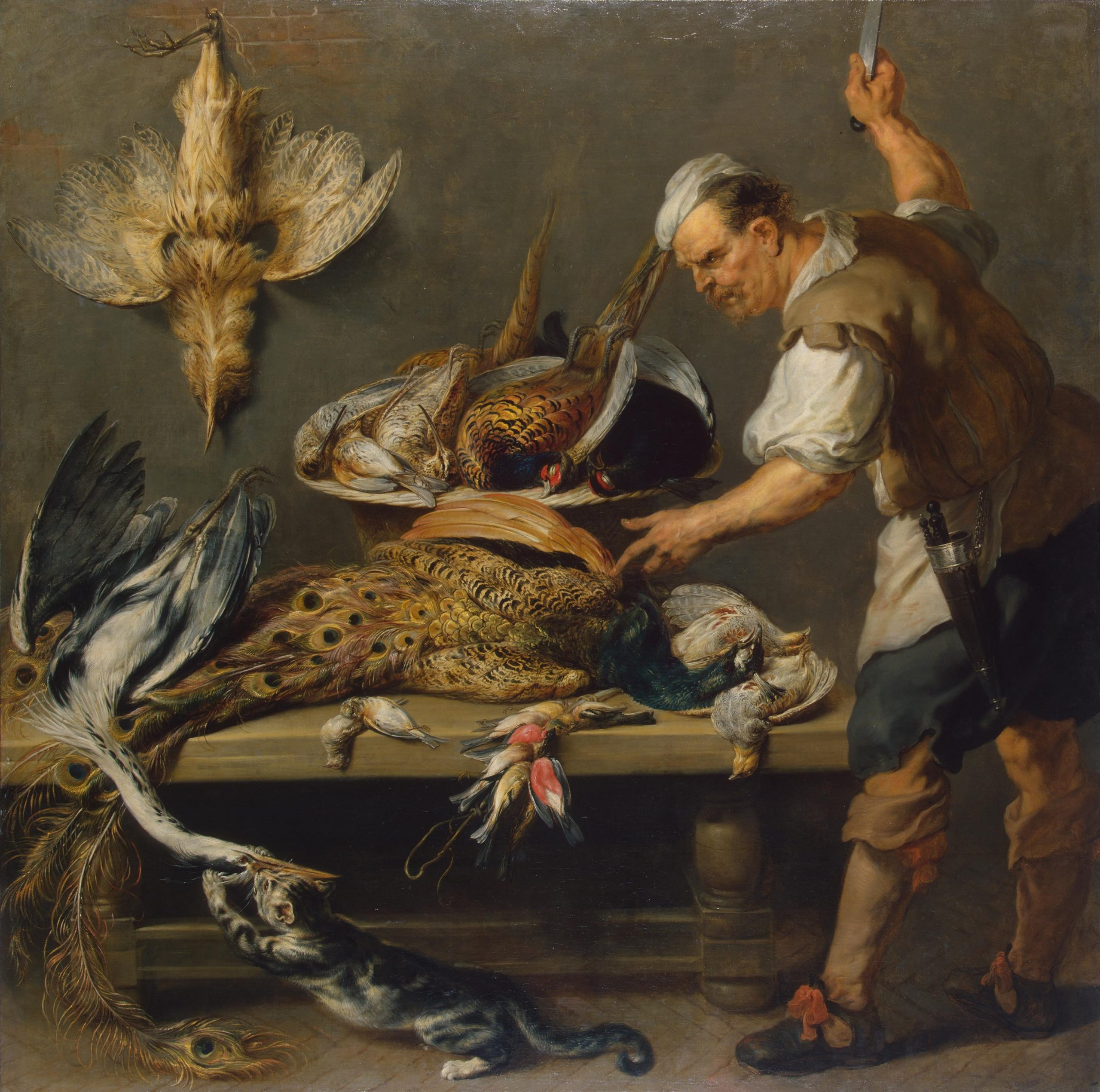 Cook at a Kitchen Table with Dead Game