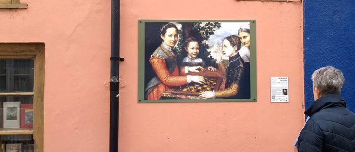 The Game of Chess by Sofonisba Anguissola is on display at Bookworms on New Street