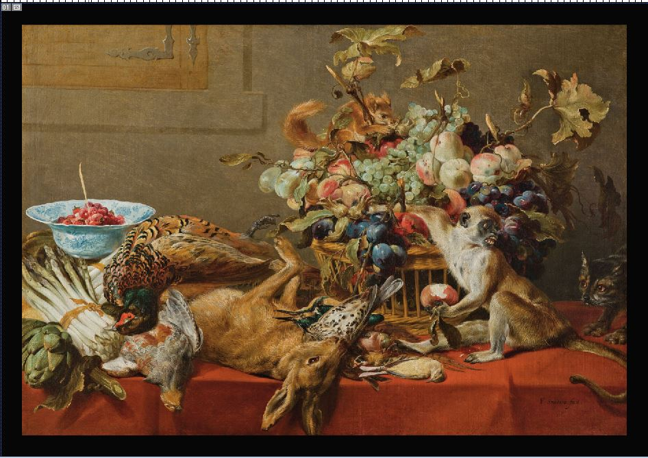till life with fruit, dead game, vegetables, a monkey, squirrel and cat