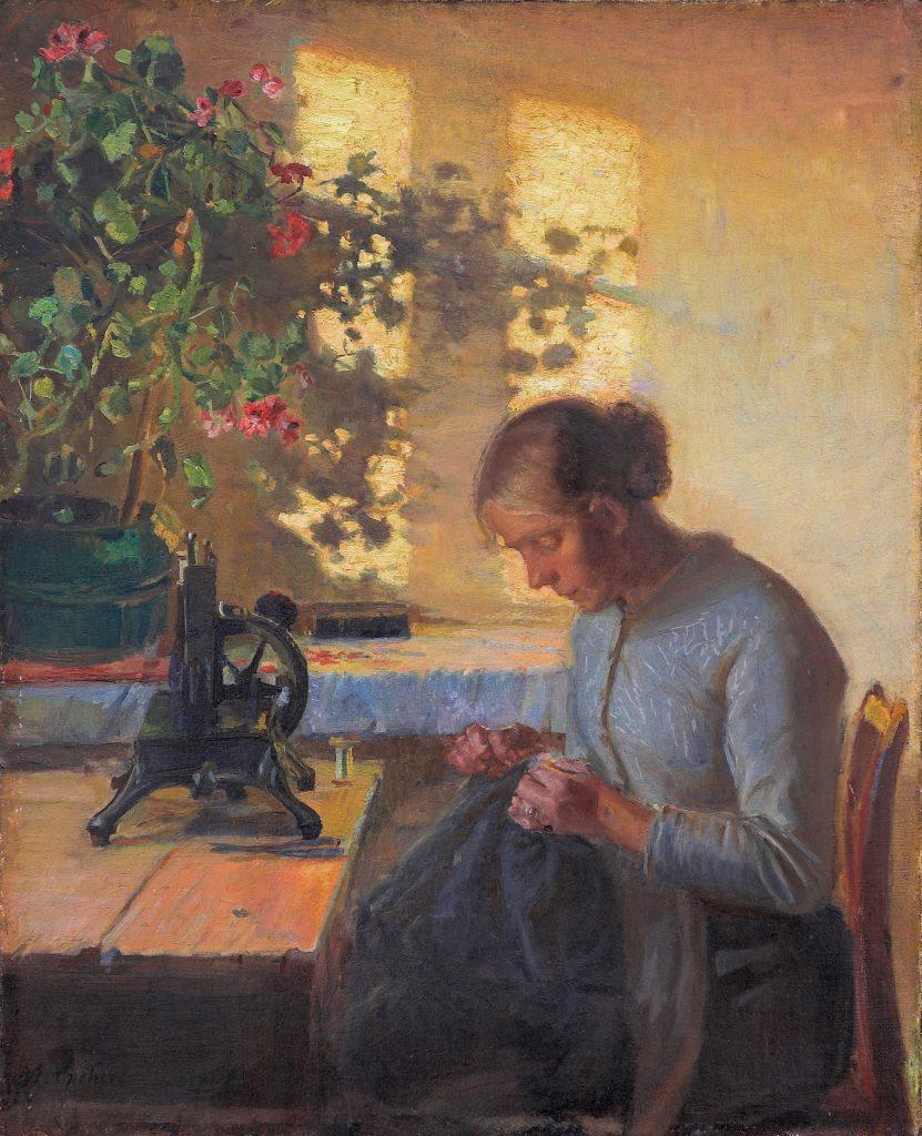 Fisherman's wife sewing