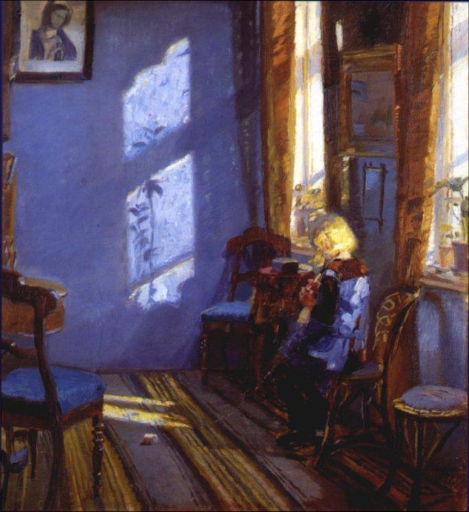 Sunlight in blue room