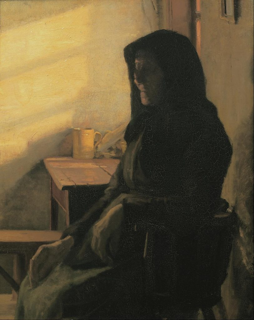 A blind woman in her room