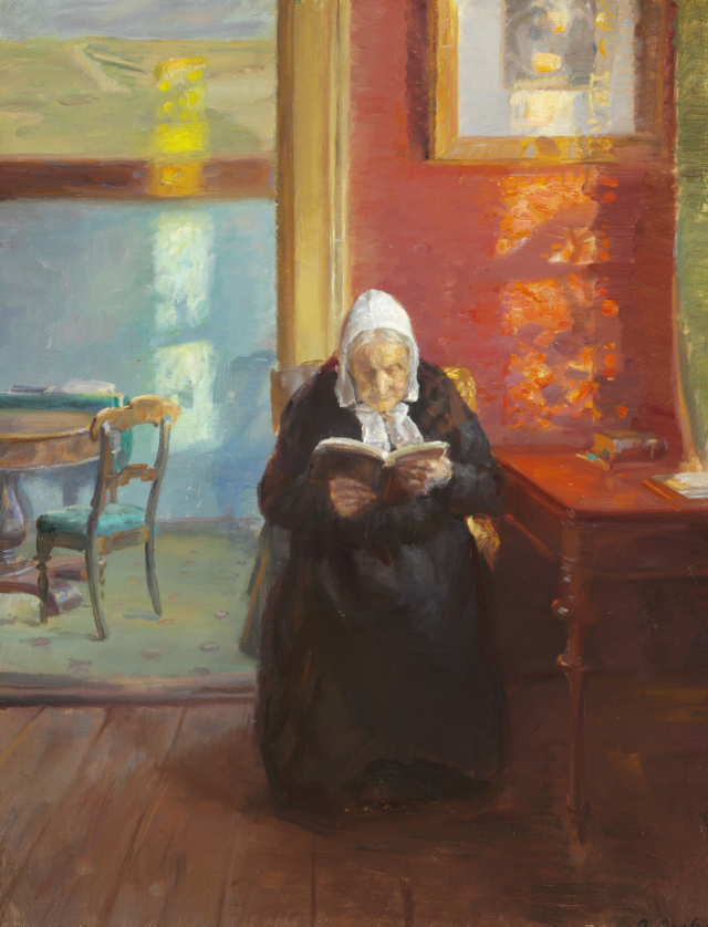 red room with artist's mother reading